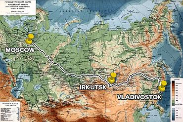 Moskau-Wladiwostok Strecke der Transsibirischen Eisenbahn 370x247
